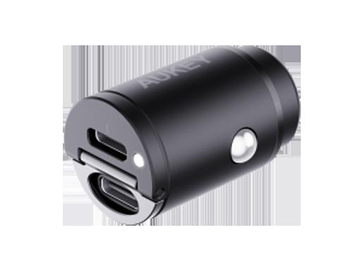 Aukey 2x USB-C Autolader - Power Delivery 30W